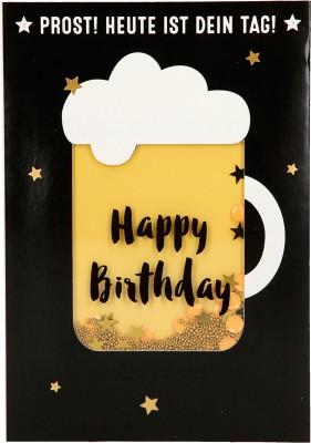 100% Glitzer Geburtstagskarte Anlasskarte Klappkarte10496-027: Prost! Heute ist dein Tag! Happy...