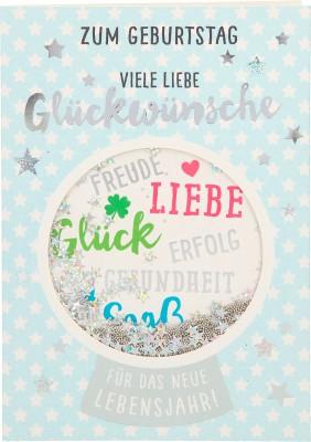 100% Glitzer Geburtstagskarte Anlasskarte Klappkarte10496-034: Zum Geburtstag viele liebe Glückwünsche