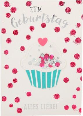 100% Glitzer Geburtstagskarte Anlasskarte Klappkarte10496-037: Zum Geburtstag alles Liebe!