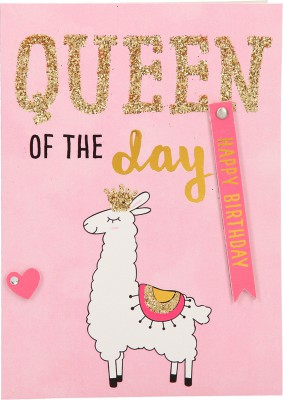 100% Glitzer Geburtstagskarte Anlasskarte Klappkarte10496-040: Queen of the day! Happy Birthday