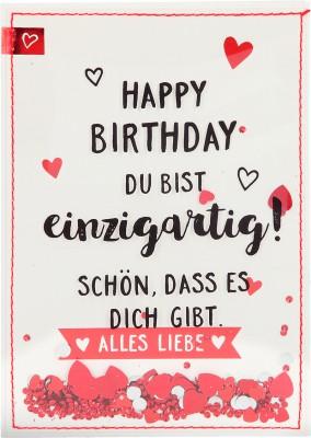 100% Glitzer Geburtstagskarte Anlasskarte Klappkarte10496-042: Happy Birthday Du bist einzigartig!