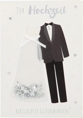 100% Glitzer Geburtstagskarte Anlasskarte Klappkarte10496-045: Zur Hochzeit Herzlichste Glückwünsche