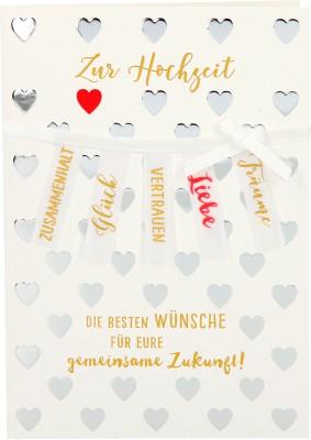 100% Glitzer Geburtstagskarte Anlasskarte Klappkarte10496-048: Zur Hochzeit Die besten Wünsche für...