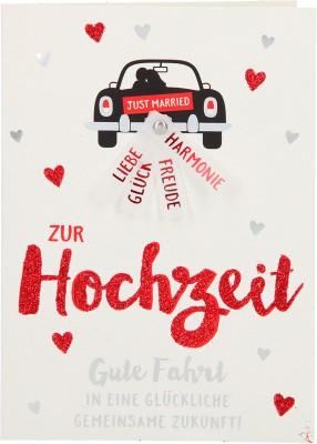 100% Glitzer Geburtstagskarte Anlasskarte Klappkarte10496-049 Zur Hochzeit Gute Fahrt in eine ..
