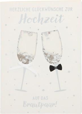 100% Glitzer Geburtstagskarte Anlasskarte Klappkarte10496-050: Herzliche Glückwünsche zur Hochzeit...