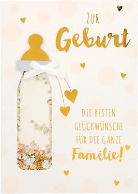 100% Glitzer Geburtstagskarte Anlasskarte Klappkarte10496--051: Zur Geburt Die besten Glückwünsche für..