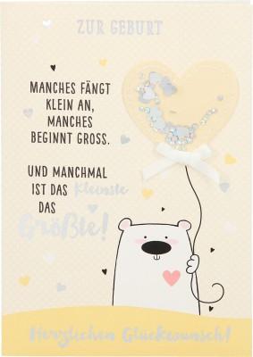 100% Glitzer Geburtstagskarte Anlasskarte Klappkarte10496-052: Zur Geburt Manches fängt klein an, ...