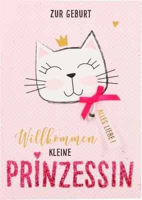 100% Glitzer Geburtstagskarte Anlasskarte Klappkarte10496-053: Zur Geburt Willkommen kleine Prinzessin