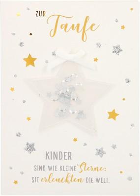 100% Glitzer Geburtstagskarte Anlasskarte Klappkarte10496-055:Zur Taufe Kinder sind wie kleine Sterne
