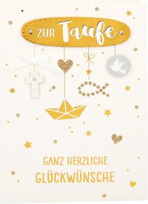 100% Glitzer Geburtstagskarte Anlasskarte Klappkarte10496-056: Zur Taufe Ganz herzliche Glückwünsche