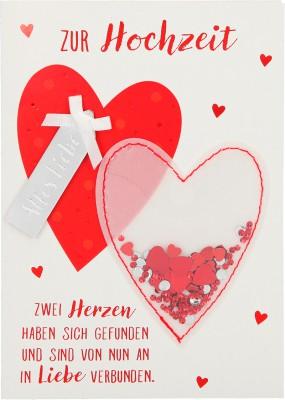 100% Glitzer Geburtstagskarte Anlasskarte Klappkarte10496-044: Zur Hochzeit zwei Herzen haben sich...