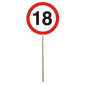 Schilder SET 12er MINI SCHILDER mit Stab zum 18. Geburtstag