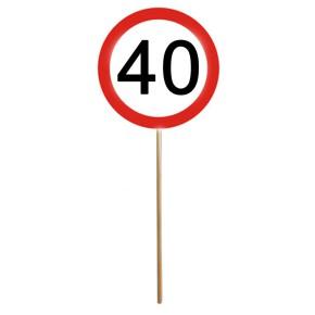 MINI SCHILD mit Stab zum 40. Geburtstag 1 Stück