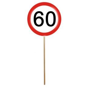 MINI SCHILD mit Stab zum 60. Geburtstag 1 Stück