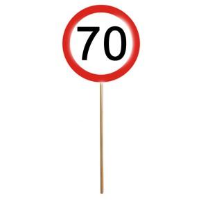 Schilder SET 12er MINI SCHILDER mit Stab zum 70. Geburtstag