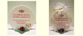 Geschenk Kerze Goldene Hochzeit 215g Grundpreis 139,30€/kg