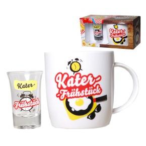 Kater-Frühstück-Set 2teilig mit Tasse und Schnapsglas