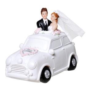 Spardose Brautpaar im Auto mit Pfropfen 11 x 14 cm