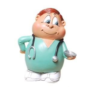 Spardose Krankenpfleger 12cm lustige Pflegerfigur als Sparbüchse