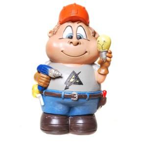 Spardose Elektriker 13cm lustige Figur als Sparbüchse