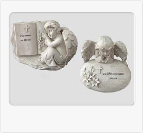 Engel auf Trauerstein mit Spruch 1 Model sortiert