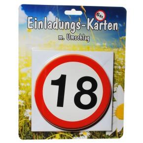 """1 Set Einladungskarten """"18"""" mit Umschlag"""