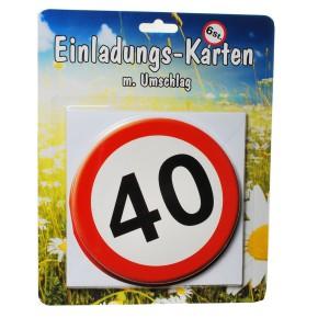 1 Set Einladungskarten mit Umschlag zum 40. Geburtstag