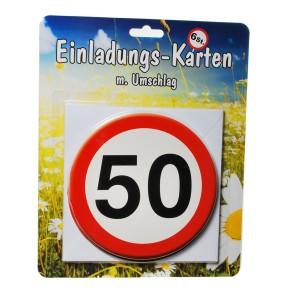 1 Set Einladungskarten mit Umschlag zum 50. Geburtstag