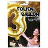 """1 Stück Riesen-Folien-Ballon """"3"""", gold 1m groß"""