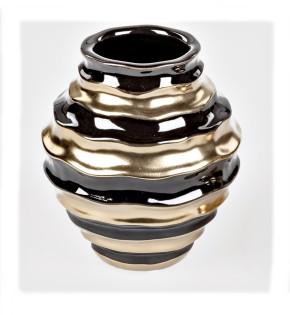 Dekorative Blumenvase Keramikvase Vase 15cm schwarz goldfarben