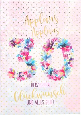 Depesche Portofino Klappkarten Geburtstagskarten002- Applaus Applaus 30 Herzlichen ...