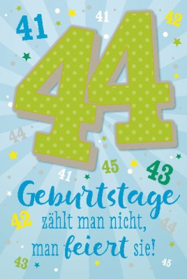 Depesche Zahlenkarten mit Musik 44 Geburtstage zählt man nicht, man...