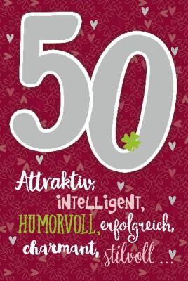 Depesche Zahlenkarten mit Musik 50 Attraktiv, intelligent, humorvoll,...