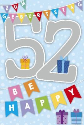 Depesche Zahlenkarten mit Musik 52 Zum Geburtstag Be Happy