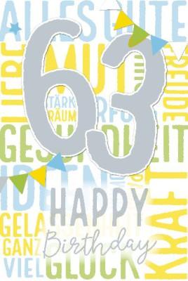 Depesche Zahlenkarten mit Musik 63 Happy Birthday