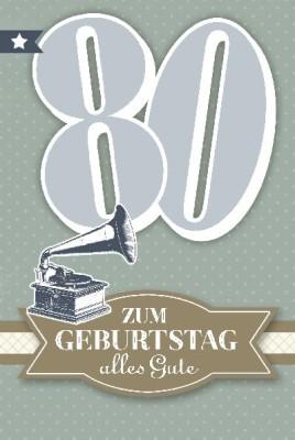 Depesche Zahlenkarten mit Musik 80 Zum Geburtstag alles Gute