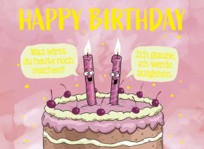 Klappkarten Grüße in Gold 031 Happy Birthday Was wirst du heute noch..