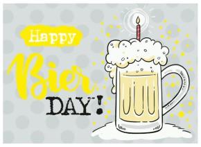 Klappkarten Grüße in Gold 038 Happy Bier DAY!