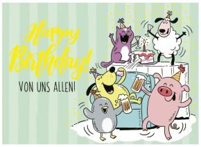 Klappkarten Grüße in Gold 040 Happy Birthday VON UNS ALLEN!