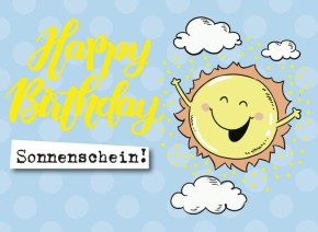 Klappkarten Grüße in Gold 054 Happy Birthday Sonnenschein!