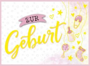 Klappkarten Grüße in Gold 068 Zur Geburt - rosa