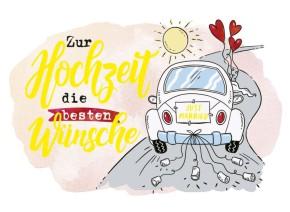 Klappkarten Grüße in Gold 069 Zur Hochzeit die besten Wünsche.