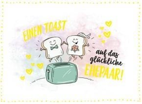 Klappkarten Grüße in Gold 070 Einen Toast auf das glückliche Ehepaar!