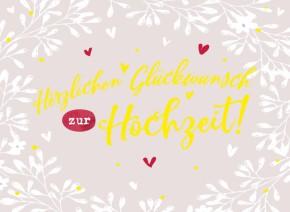 Klappkarten Grüße in Gold 073 Herzlichen Glückwunsch zur Hochzeit!