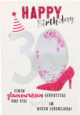 100% Glitzer Geburtstagskarte Anlasskarte Klappkarte10496-003: 30 - Happy Birthday Einen glamourösen...