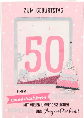 100% Glitzer Geburtstagskarte Anlasskarte Klappkarte10496-007: 50 - Zum Geburtstag Einen wunderschönen